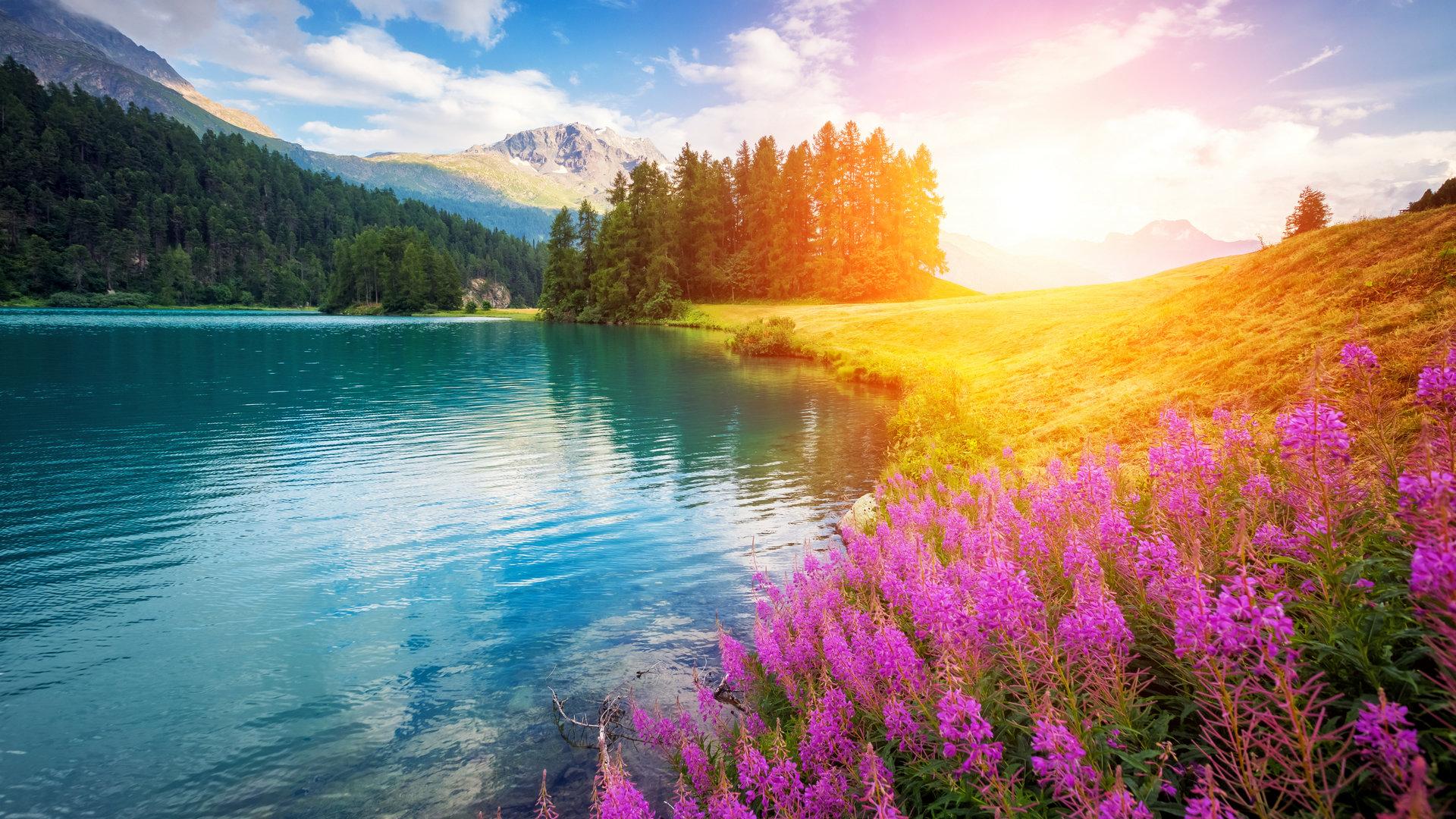 优美大山山脚风景图片壁纸