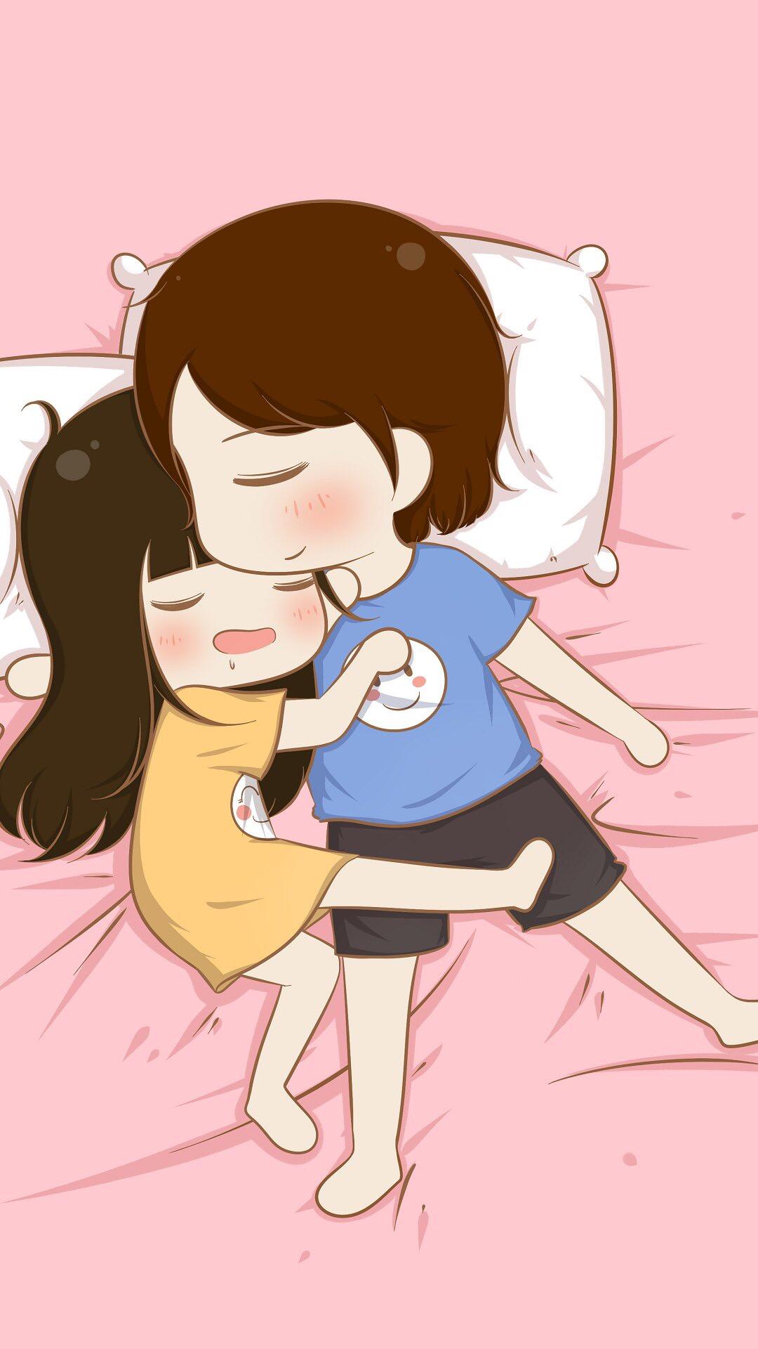 可爱情侣各种睡姿卡通图片iphone7锁屏壁纸 情侣睡姿卡通图片iphone7壁纸 Mm4000图片大全