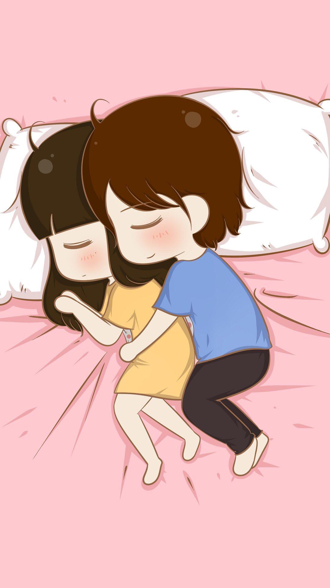 可爱情侣各种睡姿卡通图片iphone7锁屏壁纸