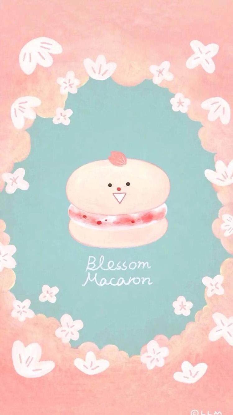 粉红小清新马卡龙可爱卡通手机壁纸